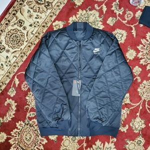 Nike Air Womens Satin Quilted Jacket Black SZ S